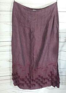 Anne Storey Womens Skirt UK 14 Embroidered Tassel Linen Straight
