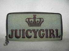 Juicy Couture JuicyGirl Princess Green Velour Leather Zip Around Wallet Clutch