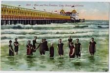 1912 LONG BEACH CA Girl Men Bathing Suits Pier & Sun Pavilion postcard