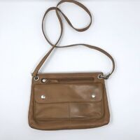 Fossil Tan Leather Crossbody Bag Zipper Top Front Pockets Brown