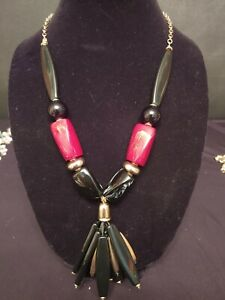 Chico's Beaded Statement Necklace Black Gold Red