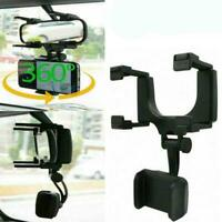 Car Universal 360° Rearview Mirror Mount Stand Holder For Cell Phone GPS Cr Y2T1