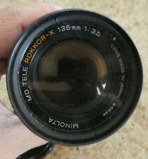 Minolta camera lens 135 mm MD TELE ROKKOR-X 55 mm 1:35