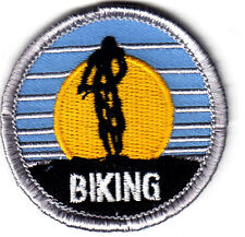 """BIKING""- Iron On Embroidered Applique Patch- Sports, Bikers, Cycles"