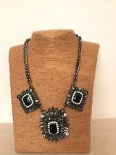 Black Diamond Resin Acrylic Crystal Pendant Chain Bib Necklace Statement Chunky