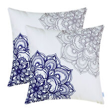 2Pcs Grey Navy Blue Cushion Covers Pillow Cases Dahlia Floral Print Sofa 45x45cm