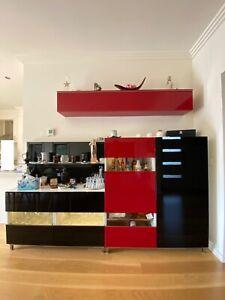 ikea furniture living,dining storage , bar , red-black , glass
