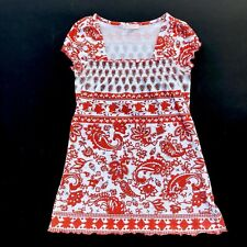 Women S Top Beige Burnt Orange Paisley Ruffle Edge Crinkle Cotton Bld Square Nck