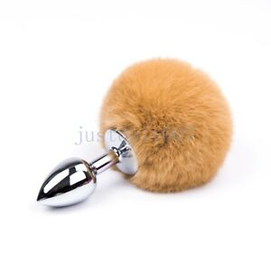 Fluffy Real Fur Bunny Rabbit Tail Plug Cosplay Animal PET Metal steel Cat Cute