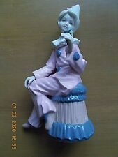 2 MEDIFLOR VALENCIA FIGURINES> 1 CLOWN HOLDING A FLOWER & 1 GIRL IN PINK DRESS
