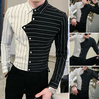Mode Herren Langarm Shirt Gestreift Causal Slim Fit T-Shirt Party Dress Shirts