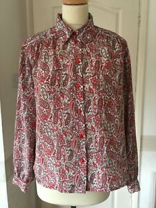 Vintage paisley blouse 80s Mod Psych Eastex Red 10 - 12 retro revival