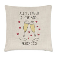 All You Need Is Love And Prosecco Linen Cushion Cover - Pillow Funny