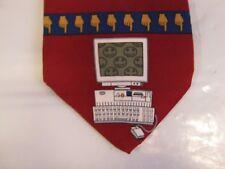 Vicky Davis SILK Tie Necktie 56 x 3.75 red brown blue COMPUTER AGE 14529