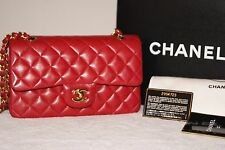 100% Authentic Chanel Timeless Classic Medium Flap True Lipstick Red Lamb Gold H