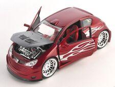 BLITZ VERSAND Peugeot 206 Tuning rot met. / red 1:24 Welly Modell Auto NEU & OVP