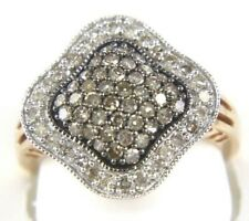 Fancy Pave Brown Diamond Cluster Clover Lady's Ring 14K Rose Gold 1.00Ct