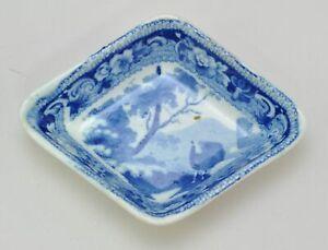 Antique Pearlware Blue Staffordshire Diamond Sheep Pickle Dish 19th century.