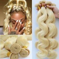 #613 BLONDE BODY WAVE 100% BRAZILIAN HUMAN HAIR EXTENSION WEAVE HAIR WEFT