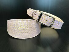 Leather Dog Collar LINED Greyhound Lurcher Whippet Saluki LILAC REPTILE PATTERN