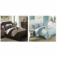 Torino Pleated & Pieced Queen Comforter Bed In A Bag Set