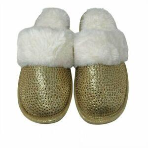INC International Concepts Womens Size 7-8 Medium Glitter Faux-Fur Slippers Gold