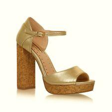 Kurt Geiger Shoes Size 7 Gold High Heel Platform Sandals Ladies Miss Kg Shoe