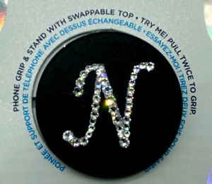 Alpha Bling Monogram Pop Up Phone Grip / Phone Stand with Crystals - Item # XS1