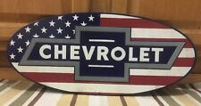Chevrolet American Flag Metal Badge USA Coupe Chevy Vintage Style Decor Gas Oil