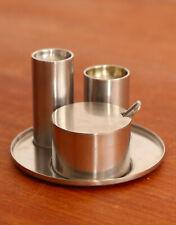 More details for salt, pepper & mustard set on tray by arne jacobsen for stelton (1960s)