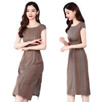 Round Collar Retro Floral Stripe Women A-line Dress Slim Slit Midi Dresses M-3XL
