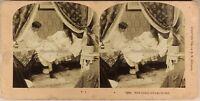 USA Vita Del Coppia Con Il Neonato A Letto 1899 Foto Stereo Vintage Albumina