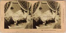USA La vie du couple avec le bébé au lit 1899 Photo Stereo Vintage Albumine