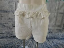 Chloe Ivory Beige Clair Eyelet Scalloped Ruffle Buttoned Side Knit Shorts - L