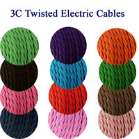 3Core Twisted Braided Fabric Cable Vintage Wire Lighting Flexible Electric Cable