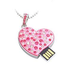 Bijou Clé USB flash  coeur swarovski Element rose  chaîne  8 GB  cadeau
