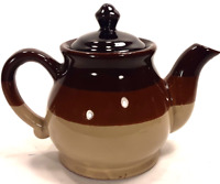 Vintage Pottery Teapot 1970's Shades of Brown & Cream Hand Made Ceramic w/ Lid