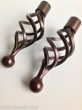 Pair of John Lewis Bronze 25mm Cage Curtain Pole Finials