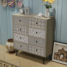 Grey Sideboard 8 Drawers Hallway Console Table Storage Bedroom Side Cabinet