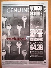 SIOUXSIE & Banshees Hyaena (Virgin) 1984  Poster size Press ADVERT 16x12 inches