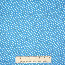 Basic Brights Fabric - White Stars on Robin's Egg Blue - Windham YARD