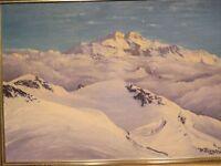 W. Ziegler - Bergbild Ölgemälde eines Gletscher Bergmassivs Mitte 20 Jh.