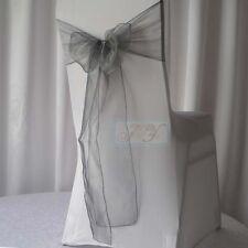 150x Silver Grey Organza Chair Sashes Wedding Banquet Birthday Party Decorations