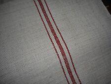 Antique European Rustic Loomed Linen Hemp Fabric ~ Red Stripe ~ Farmhouse