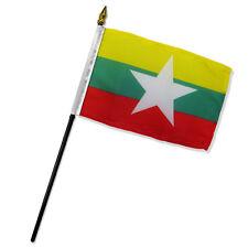 """Wholesale Lot of 12 Myanmar 4""""x6"""" Desk Table Stick Flag"""