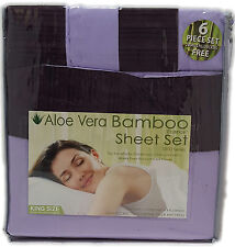 King or Queen Aloe Vera Bamboo Sheet Set 1800 Count Choose Color Pleated Trim