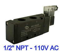 """4 Way Pneumatic Directional Control Electric Solenoid Valve 110V AC 1/2"""" Inch"""