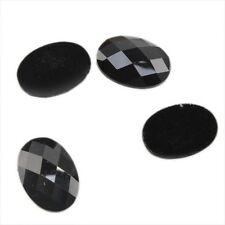 100x 24163 New Oval Charms Black Faceted Stick On Resin Flatback Embellishments