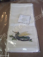 2 Pottery Barn Bird Embroidered linen Guest Hand bathroom Towels diner napkins