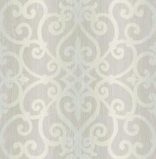 Wallpaper Designer Lavender Gray Aqua Ombre Stripe with Scroll Trellis Lattice